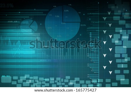 The Stock Market graph with pie chart   - stock photo