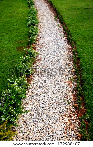 The stone  walk path in the park - stock photo