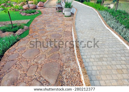The stone walkway in the park. - stock photo