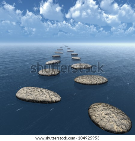 The stones in the water. Blue clou sky. Square format images - stock photo
