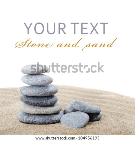 The stones on sand as a background - stock photo