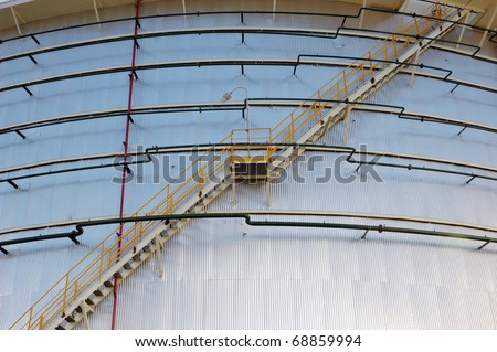 The storage tanks at an oil refinery complex/ storage tanks - stock photo