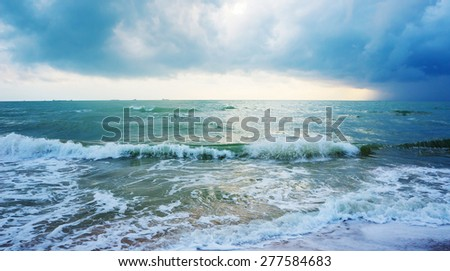 The stormy sea, abstract, dark background - stock photo