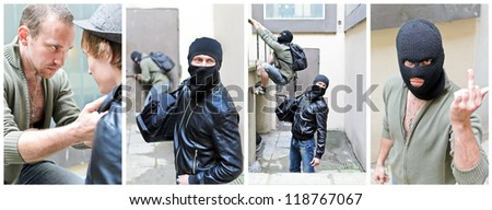 The story of robbery. Collage made of four pictures - stock photo