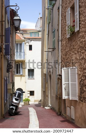 The street of old Cannes, French Riviera - stock photo