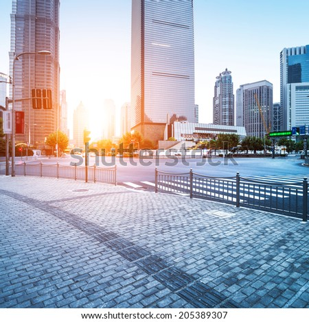 the street scene of the lujiazui financial center in shanghai - stock photo