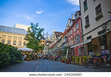 The streets in old town, Riga, Latvia - stock photo