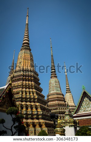 The stupa in buddhist temple in thailand - stock photo