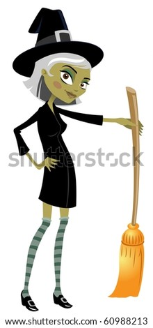 The Stylish Witch And Her Broom - stock photo