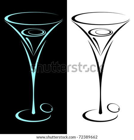 The stylized glass from martini in two variants. On black and on a white background.EPS version is available as ID 70366783. - stock photo