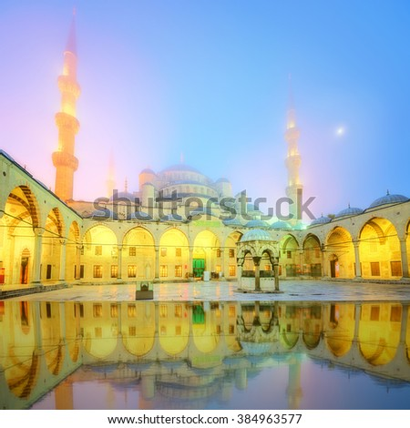 The Suleymaniye Mosque or Blue mosque in Istanbul, Turkey - stock photo