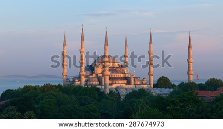 The Sultan Ahmed Mosque (Sultan Ahmet Camii). The mosque is popularly known as the Blue Mosque for the blue tiles adorning the walls. It was built from 1609 to 1616, during the rule of Ahmed I. Turkey - stock photo