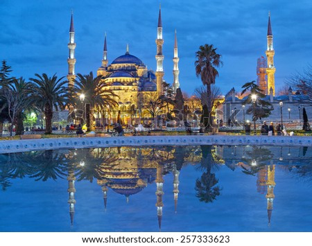 The Sultanahmet Mosque (Blue Mosque) in the evening, Istanbul, Turkey - stock photo