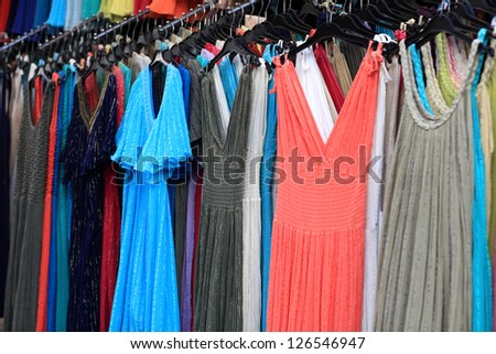 The summer dresses at greek market, Athens - stock photo