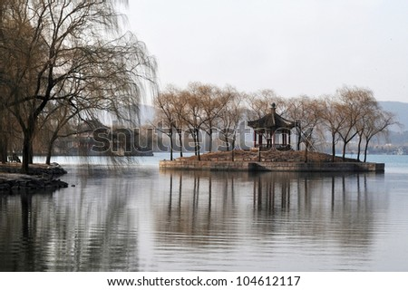 The Summer Palace lake in Beijing, China. - stock photo