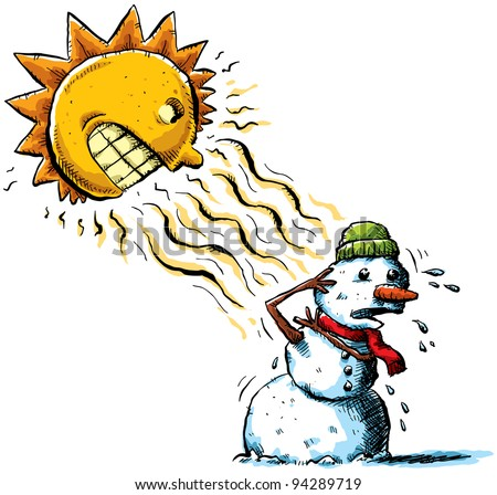 The sun attacks a snowman with rays of heat. - stock photo