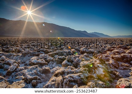The sun beats down on Death Valley National Park - stock photo
