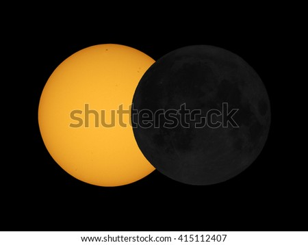 The sun eclipsed by the moon (simulation with my own telescope images of the sun and full moon - no NASA pictures used) - stock photo
