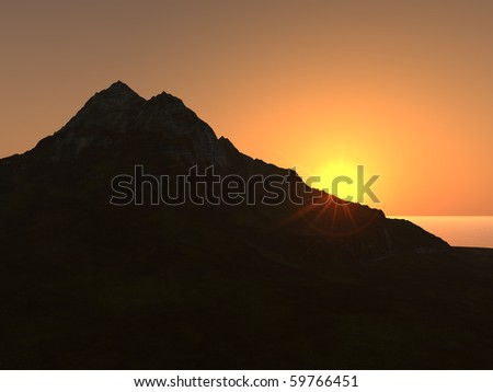 The sun has just started to drop behind a mountain silhouette in this 3D illustration of a sunset in a tropical island paradise. - stock photo