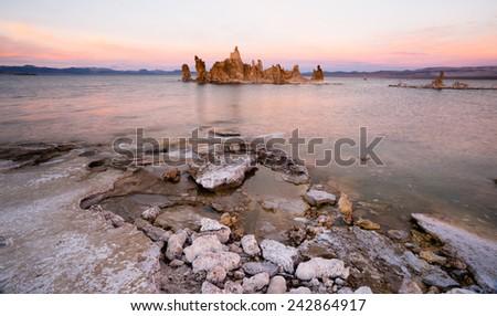 The sun has set on Eastern California and Mono Lake - stock photo
