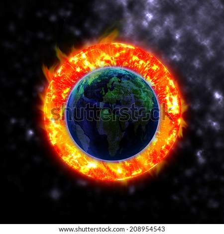 The sun hits the planet Elements of this image furnished by NASA - stock photo
