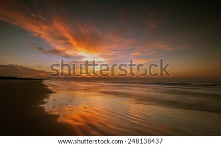 The sun is ready to begin a new day on the shores of Kiawah Island, South Carolina - stock photo