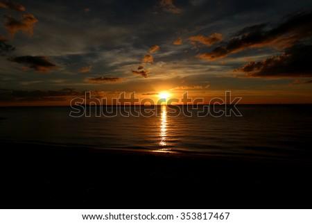 The Sun Setting in Tampa, Florida. - stock photo