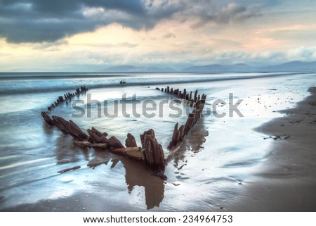 The Sunbeam ship wreck on the beach in Co. Kerry, Ireland - stock photo