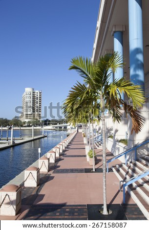 The sunny walking path in the downtown of Tampa (Florida). - stock photo
