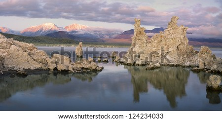 The sunrise casts many colors over Mono Lake - stock photo