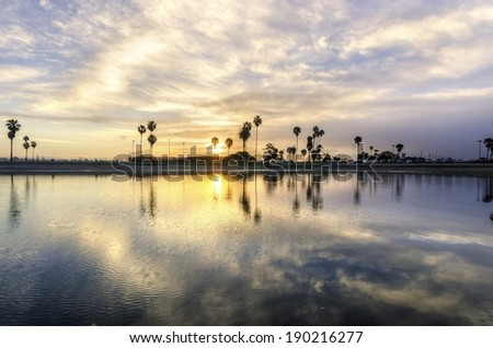 The sunrise over Sail bay in Mission Bay over the Pacific beach in San Diego, California in the United States of America. A view of the palm trees, reflected on the beautiful saltwater bay at sunset. - stock photo