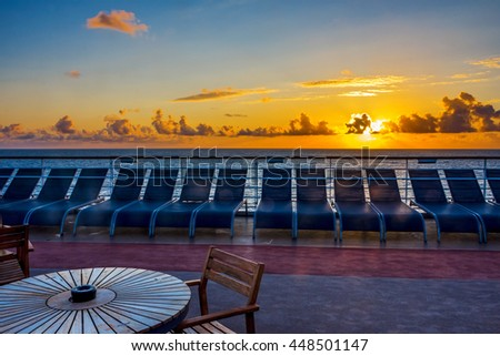 The sunrise view on board a cruise ship in the North Atlantic. - stock photo