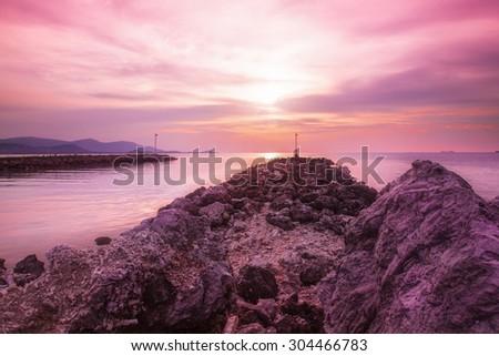 The Sunset at samui island - stock photo
