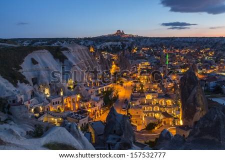 The sunset time at Cappadocia , Turkey - stock photo