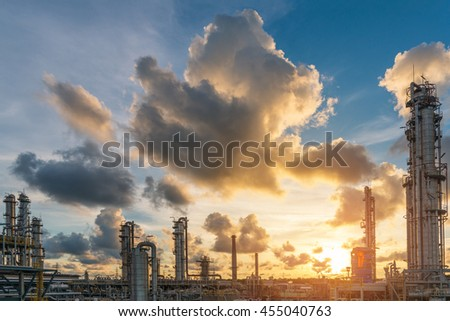 The sunshine scene at sunset of oil and gas refinery plant skyline - stock photo