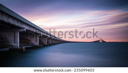 The sunshine sky way bridge in St Petersburg - stock photo