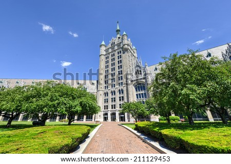 The SUNY System Administration Building, formerly the Delaware & Hudson Railroad Building. A public office building located at the intersection of Broadway & State Street in downtown Albany, New York. - stock photo