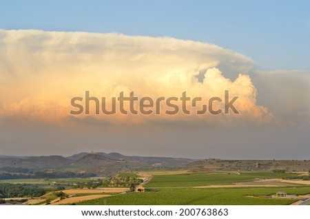 The supercell is a rotating thunderstorm, which can produce tornadoes and large hail. - stock photo