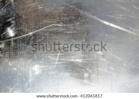 The surface of the stainless metal, reflection, scratches. Background, Texture - stock photo