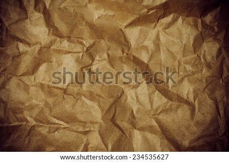 The surface texture of crumpled paper, abstract vintage background, close-up - stock photo