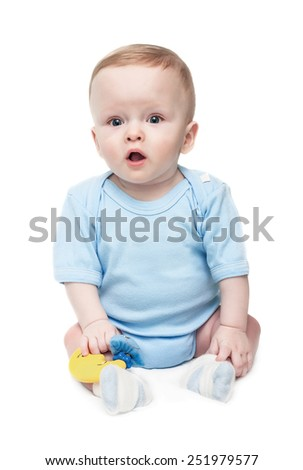 The surprised child on the white, isolated - stock photo