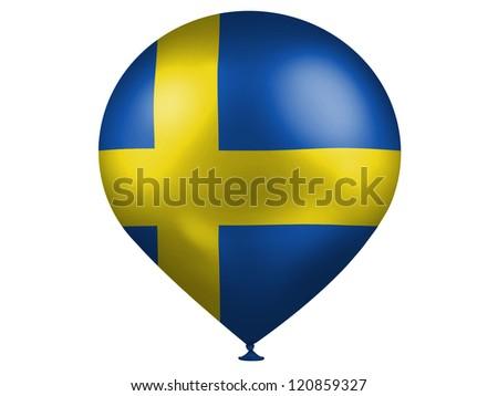 The Swedish flag  on a balloon - stock photo