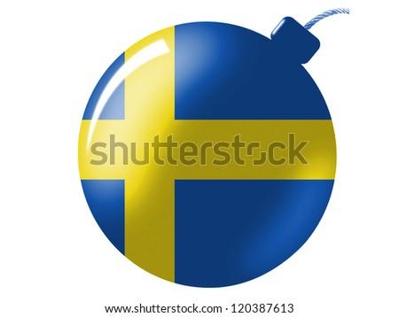 The Swedish flag painted on bomb icon - stock photo