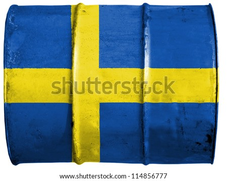 The Swedish flag painted on oil barrel - stock photo