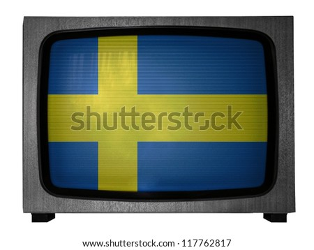 The Swedish flag painted on old TV - stock photo