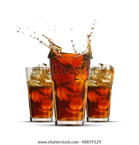 The sweet cooled drink with ice - stock photo