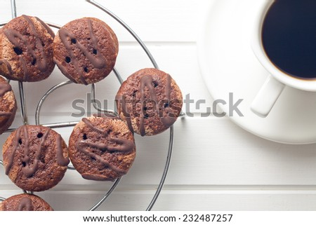 the sweet dessert with chocolate and fruity jam - stock photo