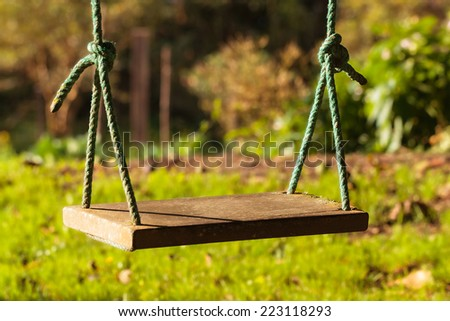 The swing at the end of the world - stock photo
