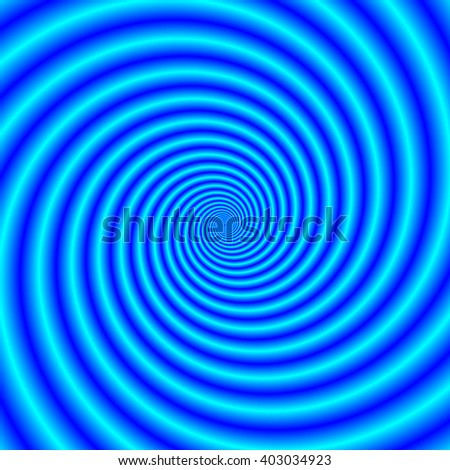 The Swirling Blues / An abstract fractal image with a spiral design in shades of blue. - stock photo