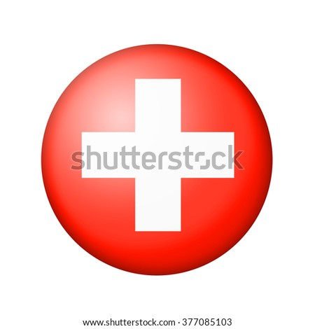 The Swiss flag. Round matte icon. Isolated on white background. - stock photo